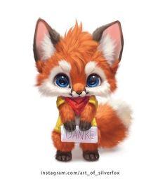 L& est tellement mignonne Un mignon petit renard ♥ ️ - L& est tellement mignonne Un mignon petit renard ♥ ️ - Cute Cartoon Animals, Anime Animals, Cute Little Animals, Cute Animal Drawings, Kawaii Drawings, Cute Drawings, Baby Animals Pictures, Fox Art, Cute Fox