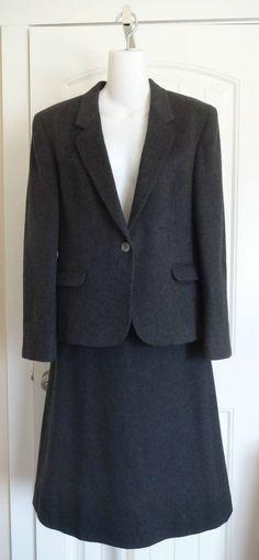 Womens Sz 12 DiBenedetto Cashmere Blend Suit Jacket Blazer Skirt Gray  | eBay