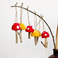 Felted Mushroom Ornaments with Twine Hangers - Set of Six Felted Waldorf Toadstools Upcycled Wood
