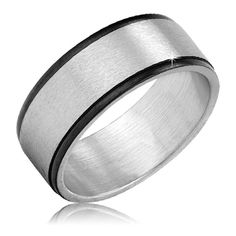 $4.99 - Brushed Stainless Steel with Black-Plating Mens Ring