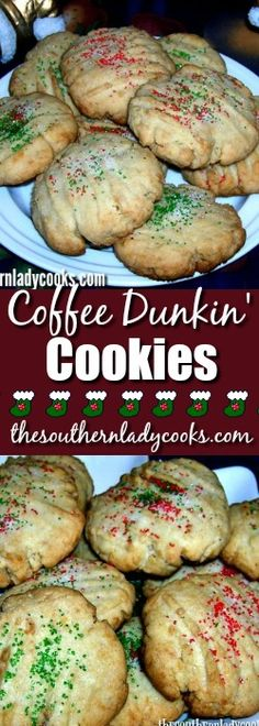 This is a simple cookie but addictive. These coffee dunkin cookies are so good dunked in coffee or milk. They are perfect to leave for Santa! Best Dunks, My Favorite Food, Favorite Recipes, Best Christmas Recipes, Coffee Cookies, Yummy Cookies, Shortbread Cookies, Just Cakes, Food Festival