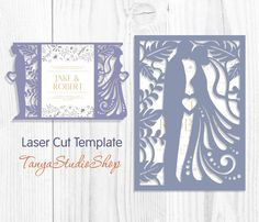 Wedding invitation - SVG, DXF, ai, CRD, eps, studio3 - Dride and Groom - Laser Paper Cut - Silhouette Cameo - Instant Download 033 by TanyaStudioShop on Etsy
