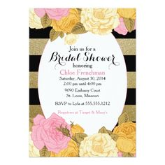 Glitter Rose Invitation for Baby or Bridal Shower