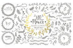 Hand Drawn Flower Design Elements - Illustrations
