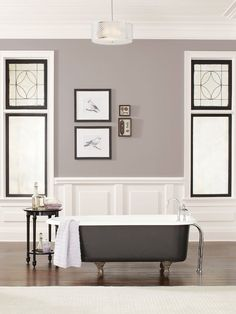 Sherwin-Williams announced Poised Taupe (SW as the 2017 Color of the Year. Not cool or warm, or gray or brown, Poised Taupe is a weathered, woodsy neutral bringing a sense of coziness and harmony that people are seeking. Taupe Paint Colors, Interior Paint Colors, Interior Design, Taupe Color, Interior Door, Gray Paint, Interior Painting, Gray Interior, Brown Paint