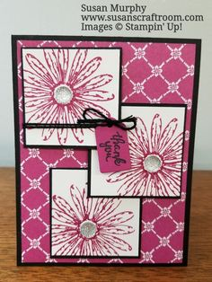 Susan Murphy, Stampin' Up! www.susanscraftroom.com  Stamps: Daisy Delight, Wood Words.  Paper: Basic Black, Whisper White, Fresh Florals DSP, Berry Burst.  Ink: Basic Black Archival, Berry Burst  Other: Wood Crate Framelits dies, Basic Black Solid Bakers Twine, Clear Faceted Gems, Dimensionals