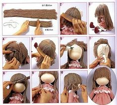 Рано Crochet Doll Clothes, Sewing Dolls, Crochet Dolls, Doll Wigs, Doll Hair, Doll Crafts, Diy Doll, Doll Making Tutorials, Hair Tutorials
