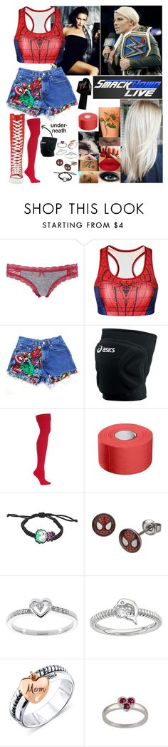 """Smackdown: Next week... *Description*"" by spidey31 ❤ liked on Polyvore featuring Charlotte Russe, Levi's, WWE, Max Factor, Asics, Modern Bride and Unwritten"