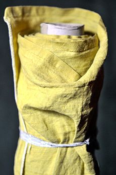 Sulphur yellow European laundered linen with soft hand feel, washed distressed look and light drape as part of Merchant and Mills' core linen collection. Textiles, Textile Prints, Textile Design, Fabric Design, Linen Fabric, Off White Bag, Merchant And Mills, Linen Bag, Yellow