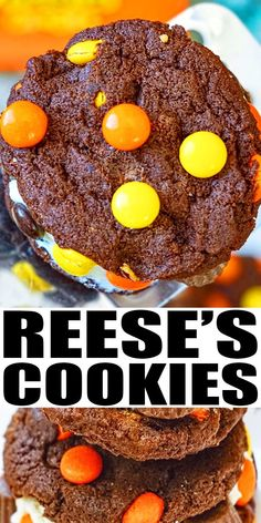 REESE'S COOKIES RECIPE- Easy, homemade, fudgy, soft and chewy cookies that start off with chocolate cake mix and other simple ingredients. Full of mini peanut butter cups and Reeses pieces. From CakeWhiz.com Dark Chocolate Recipes, Chocolate Cake Mixes, Chocolate Lovers, Delicious Cookie Recipes, Easy Cookie Recipes, Yummy Food, Cacao Recipes, Fun Desserts, Dessert Recipes