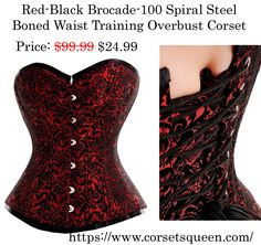 Red Black  Brocade Waist training Corset Corset Shop, Waist Training Corset, Overbust Corset, Corsets, Red Black, Boots, Collection, Shopping, Color
