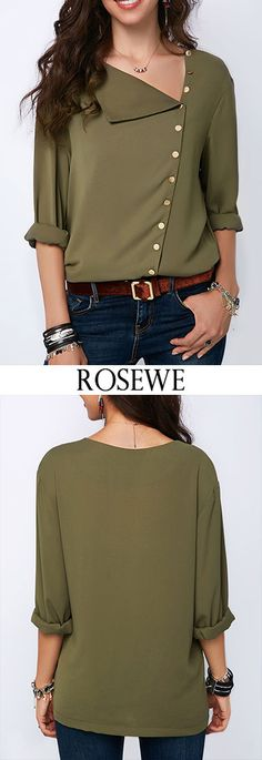 Roll Sleeve Button Detail Army Green Blouse On Sale. Shop special blouse at Modlily. Blouse Styles, Blouse Designs, Sewing Clothes Women, Clothes For Women, Bluse Outfit, Casual Outfits, Fashion Outfits, Fashion Clothes, Fashion Fashion