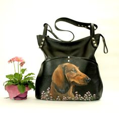 Personalized leather hobo bag Pet portrait painted by CityRomance