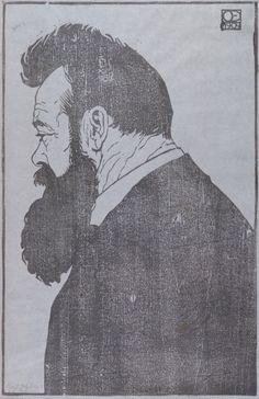 Emil Orlik. Portrait of Ferdinand Hodler, woodcut, 1904