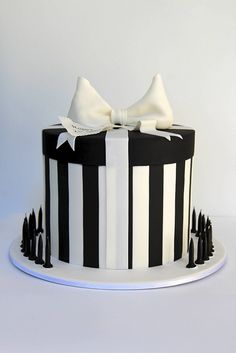 black and white present box cake