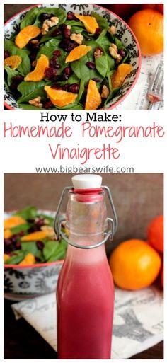 Homemade Pomegranate Vinaigrette with a Walnut, Orange and Cranberry Salad - Big Bear's Wife Vinegrette Salad Dressing, Dressing For Fruit Salad, Salad Dressing Recipes, Salad Recipes, Salad Dressings, Pomegranate Recipes, Salad Bar, Soup And Salad, Kitchens