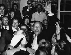 Oskar Schindler being greeted by 300 holocaust survivors in Jerusalem, on May 1, 1962.