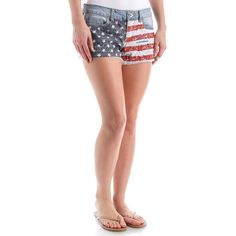 """These juniors denim shorts feature the American flag across the front for that Americana look! Soft and stretchy denim for comfort with frayed raw hem to add style. Five pockets for storage with zip fly closure. Low-rise.   •98% cotton, 2% spandex •2.5"""" inseam (size 7) •Machine Wash •Juniors"""