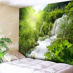 Cheap Wall Art Ideas for Home Decor Cheap Wall Tapestries, Tapestry Wall Hanging, Blanket On Wall, Tapestry Online, Tree Shower Curtains, Cheap Wall Art, 3d Wall Murals, Landscape Materials, Natural Scenery