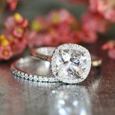Cushion White Topaz Halo Diamond Engagement Ring and 14k White Gold Half Diamond Eternity Wedding Ring Set (Custom Ring Set Available)