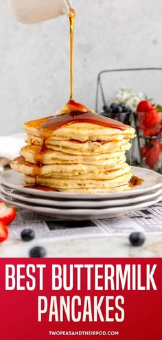 Buttermilk Pancakes- this is the BEST Buttermilk Pancake recipe. The pancakes are light, fluffy, and melt in your mouth. Serve warm with butter and maple syrup and you will be in pancake heaven!