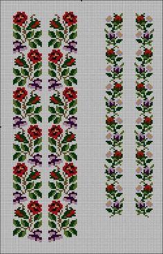Cross Stitch Floss, Cross Stitch Borders, Cross Stitch Designs, Cross Stitching, Cross Stitch Embroidery, Cross Stitch Patterns, Embroidery Flowers Pattern, Flower Patterns, Crochet Stitches