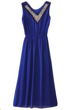 Blue V Neck Sleeveless Rhinestone Bandeau Chiffon Dress - Sheinside.com