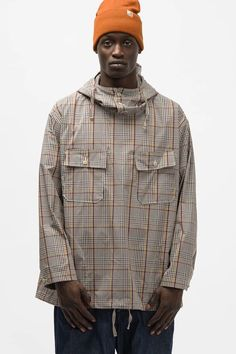 Cagoule Shirt in Light Grey Polyester Rayon Glen Plaid Engineered Garments, Glen Plaid, Us Man, Spring Outfits, Unisex, Pullover, Grey, Fall, Clothing