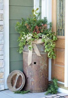 Milk can planter