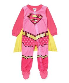 Supergirl Baby Toddlers Footed Pajama Costume w/ Cape