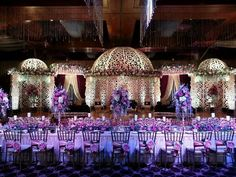 Beautiful stage and table with flowers