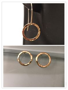 14k Yellow Gold Circle Earrings Small Round Studs by EllynBlueJewelry on Etsy https://www.etsy.com/listing/211589706/14k-yellow-gold-circle-earrings-small