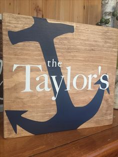 Custom wood sign, nautical, anchor, last name