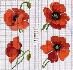 This Pin was discovered by DerCross stitch and tapestry pattern chart.poppies scheme free cross stitch for tableclothsquilting like crazy Cross Stitch Charts, Cross Stitch Designs, Cross Stitch Patterns, Hand Embroidery Patterns, Beading Patterns, Cross Stitching, Cross Stitch Embroidery, Poppy Pattern, Cross Stitch Flowers