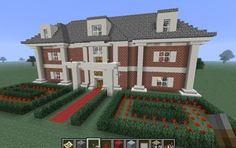 Minecraft House, i like this one mostly because the garden gives me an idea for a fancy castle maze type rose garden with the hedges.