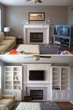 Before & After: Built ins. Can make a room look much larger than it actually interior design home design house design decorating before and after Home Renovation, Home Remodeling, My New Room, Home Living Room, Living Roon, Home Projects, Sweet Home, New Homes, House Design