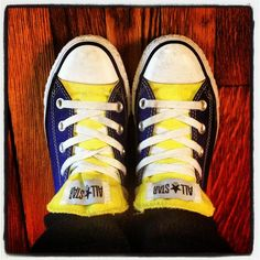 Clare Reszel's lucky Blue & Gold shoes. Go Marquette!