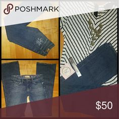 """Anthropologie Paige Denim Size 25 Bootcut Jeans Excellent condition Smoke free home  Classic rise 8"""" 27"""" waist  Inseam 33"""" Hollywood Hills Bootcut  No trades Jeans for sale only Gorgeous Blue Embroidered pockets in rear Zip fly No defects Anthropologie Jeans Boot Cut"""