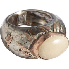 Sandra Dini Lava Cabochon Ring ($725) ❤ liked on Polyvore featuring jewelry, rings, accessories, fillers, clothing & accessories, women, gold and silver jewelry, gold and silver rings, sandra dini jewelry and cabochon jewelry