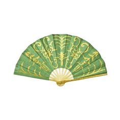 Green Mulberry Paper Hand Fan (gilded henna design) ❤ liked on Polyvore featuring home, home decor, fans, accessories, paper hand fans, green home decor, hand fan, green home accessories and paper fan
