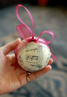 Christmas Ornament: Sheet Music decoupaged onto Styrofoam ball