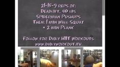 Thursday 07.11.2013 Daily Workout  21-15-9 reps of: Deadlift, 40 lbs Spiderman Pushups Then: 1 min Wall Squat + 2 min Plank  Follow for Daily HIIT Workouts www.dailyworkout.tv  38 days into 90 day makeover challenge! Follow us for new #dailyworkouts each weekday. #workouts #fitness #exercise #wod #homeworkout #dailyroutine #training #crossfit #beachbody #fit #active #getfit #fitnessaddict #workoutroutine #homeexercise #picoftheday #Fitchick #weightloss #workingout