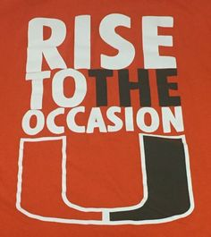 Miami Hurricanes Rise To The Occasion Orange Large Short Sleeve Tee T-Shirt H1 #Gildan #MiamiHurricanes