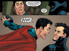 Crazy and violent Superman in Injustice: Gods Among Us comic book.