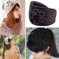 3pcs/set flor de la moda de punto de ganchillo headwrap diadema oreja  caliente diadema