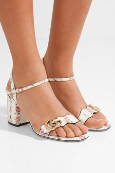 Heel measures approximately 70mm/ 3 inches  Multicolored floral-print leather Buckle-fastening ankle strap Made in Italy
