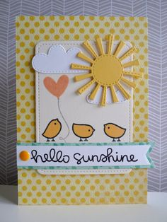 Lawn Fawn - Hello Sunshine, Spring Showers, Stitched Journaling Card _ sunny card by Natty at koolkittymusings.typepad.com