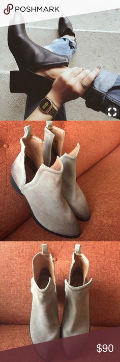 "Jeffrey Campbell // Muskrat Suede Beige Boots The Jeffrey Campbell Muskrat is very comfortable with the perfect heel height and a lightly distressed suede upper.  Fashionable double-slit shaft and a stacked heel. New, never worn, partial tags still attached.   :: 1.75"" stacked heel :: Leather upper :: Leather lining :: Rubber sole Jeffrey Campbell Shoes Ankle Boots & Booties"