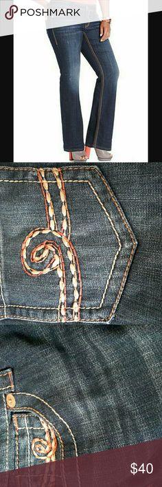 Seven7 Jeans Plus Size Destructed Bootcut Jeans, A Seven7 Jeans Plus Size Destructed Bootcut Jeans, Archer Wash Seven7 Jeans Boot Cut