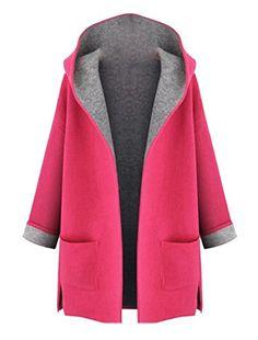 7980aa5434210 YUSKY Women Fall Candy Mid Long Plus Size Split Trench Coat Jacket Red 4XL